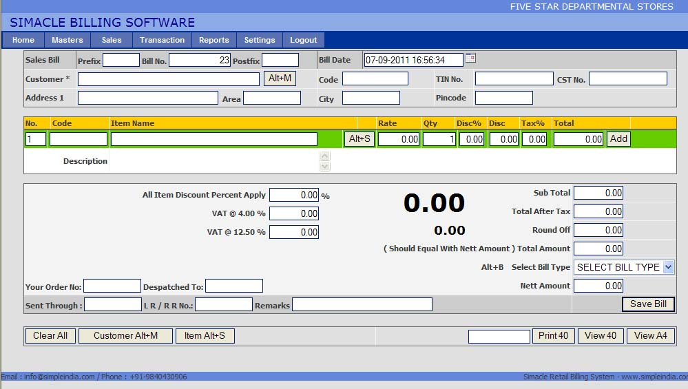 Free Retail Billing Software Chennai India